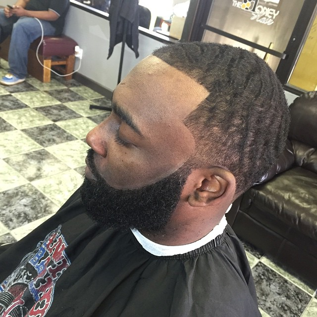 Mens Fade Haircut with 360 Waves And Beard