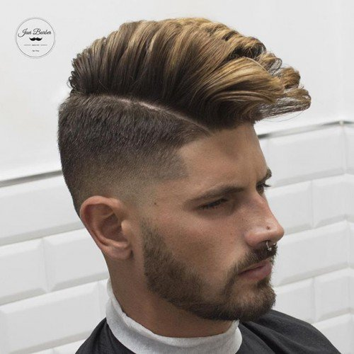 Rockabilly Style Pompadour With High Fade Fine Hard Part