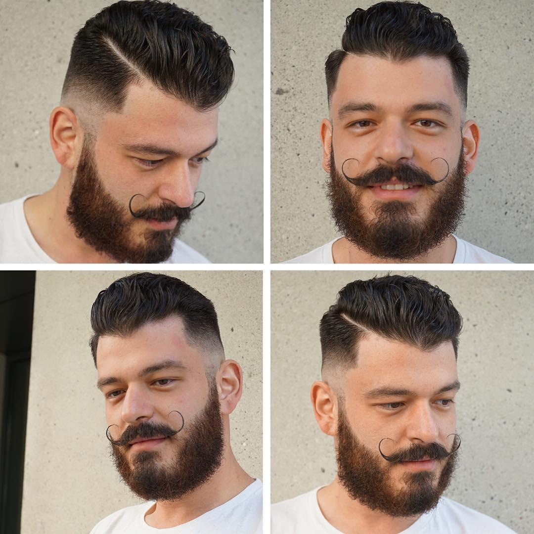 skin fade with handlebar mustache