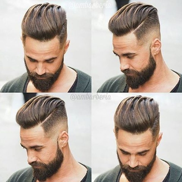 Fresh undercut fade with pompadour top