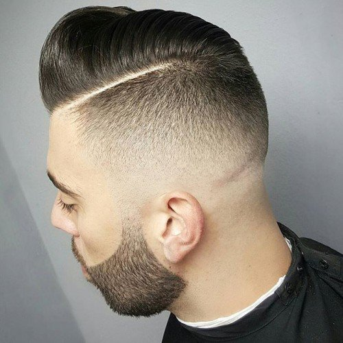 Hard Part Bald Fade Pomp With Beard