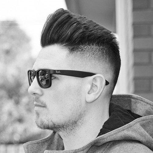 Graduated Texturized Pompadour Haircut Faded