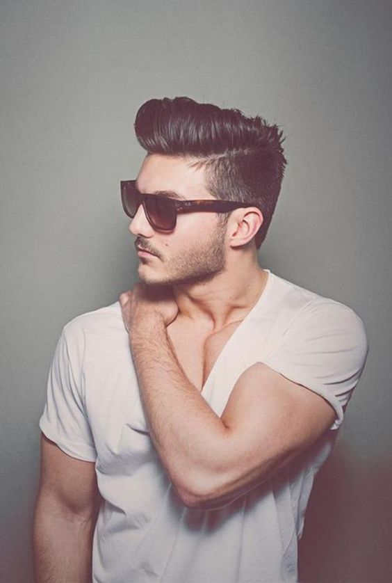 mens hairstyles side shaved hard part