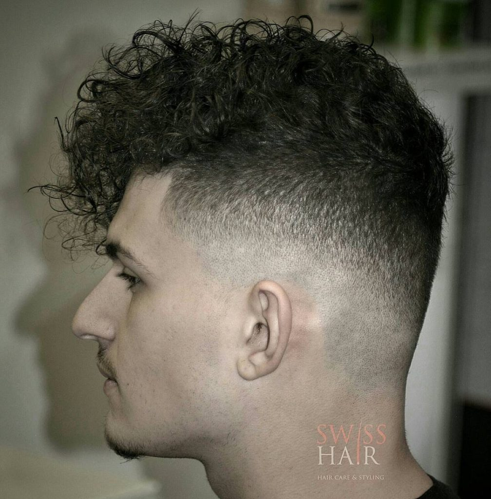 stylish Curly hairstyles with taper fade