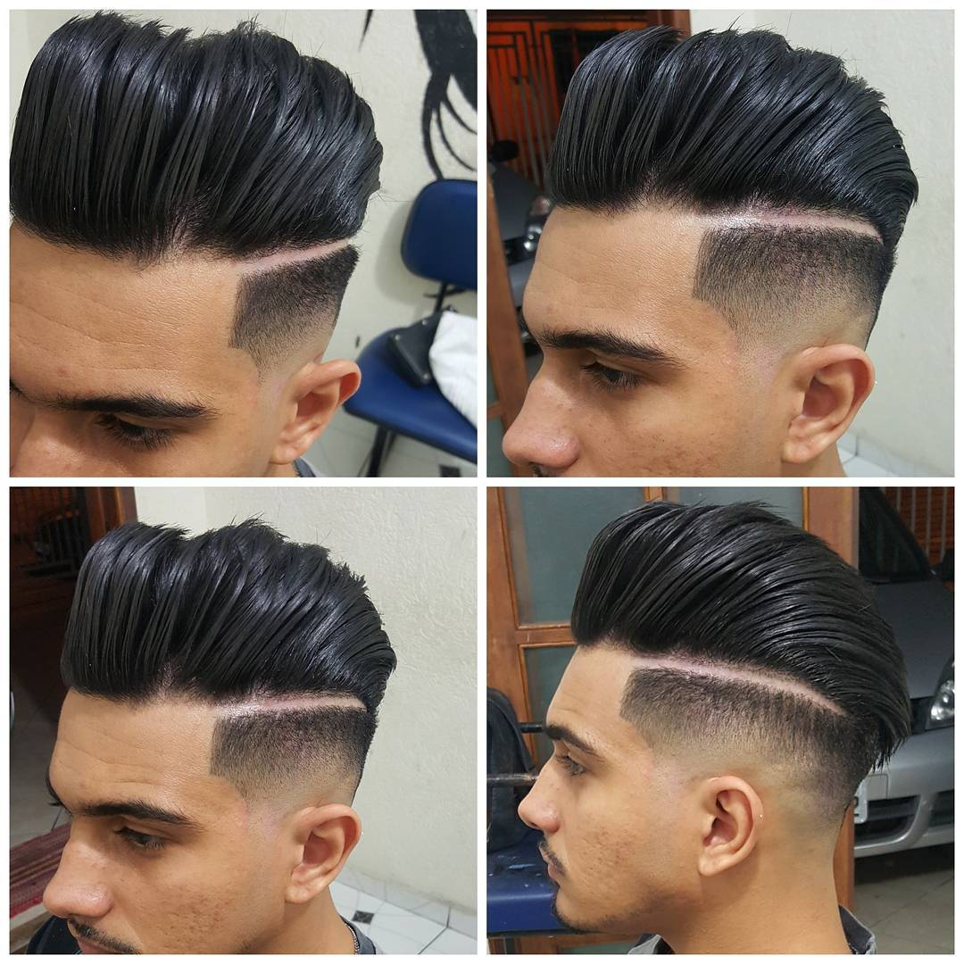 Pompadour on the edge haircut