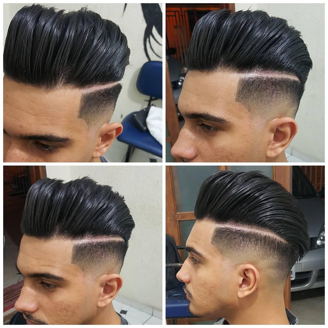 Pompadour on the edge haircut