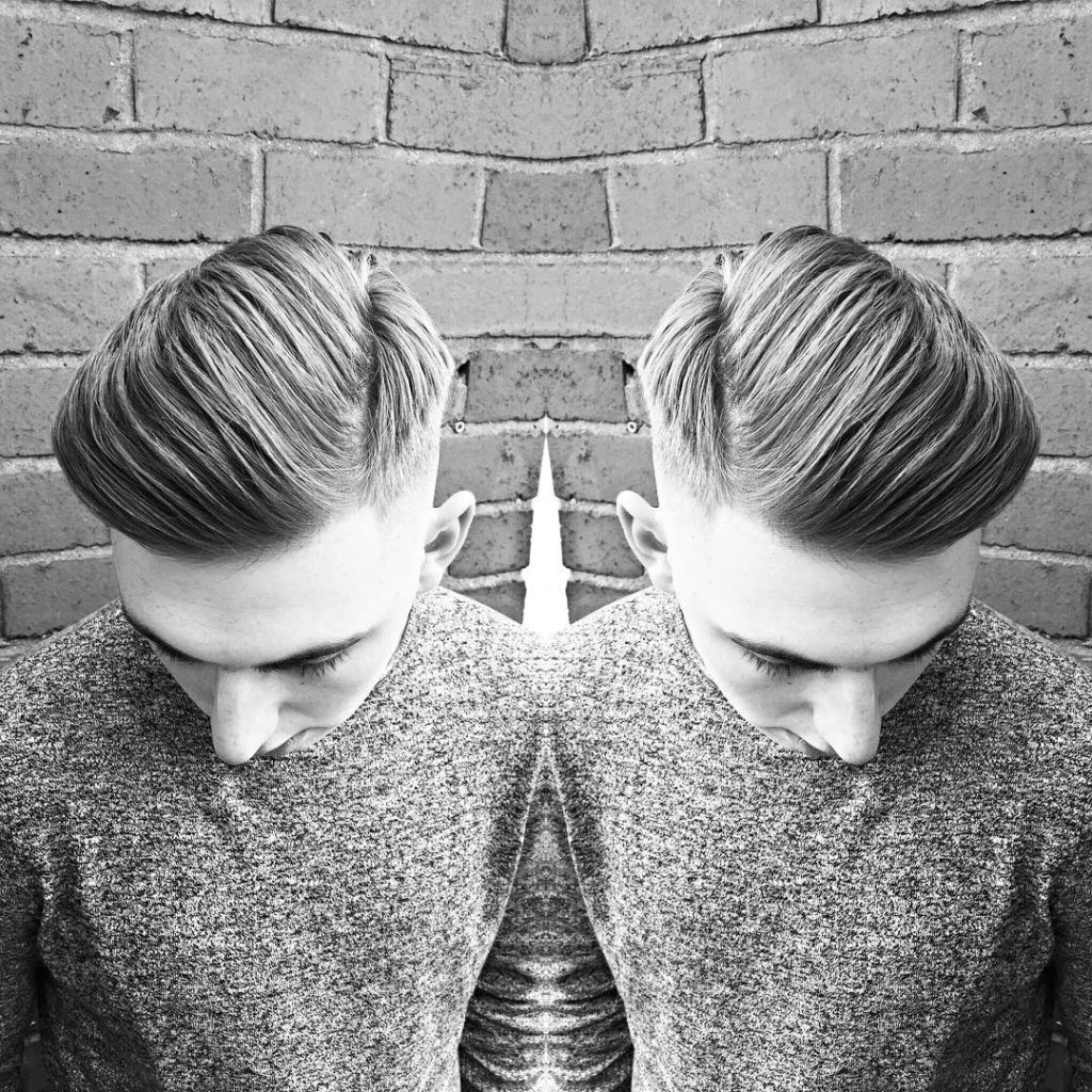 slicked back taper fade