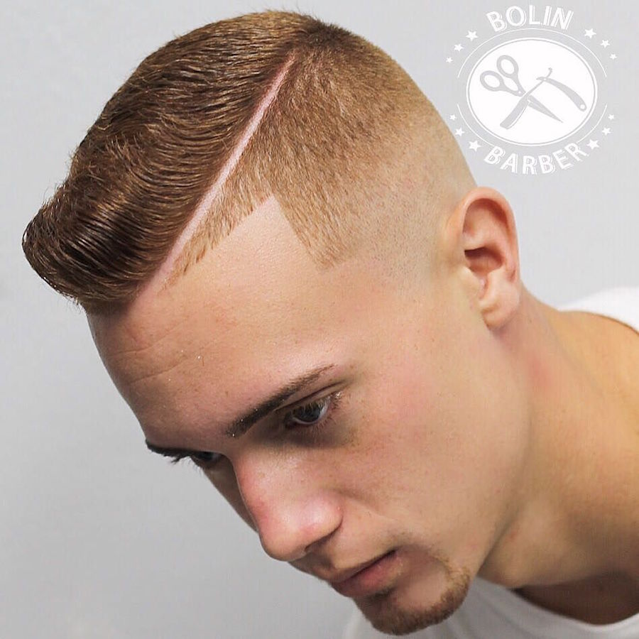 Very Short Pompadour with Hard Part