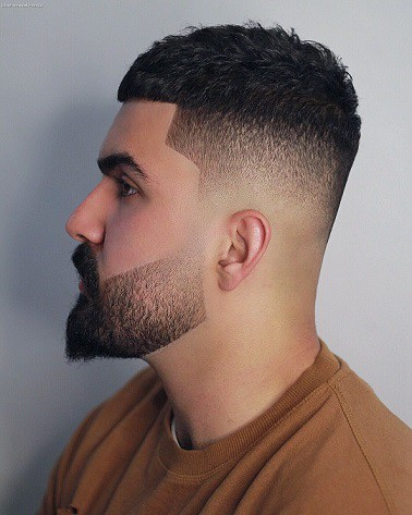 High Bald Fade + Long Hair + Disconnected Beard
