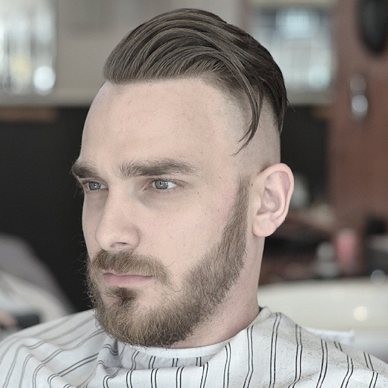 High Balded Fade + Long Hair + Disconnected Beard