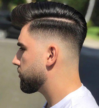 High Fade + Long Hair Slicked Back (Blown) Dry