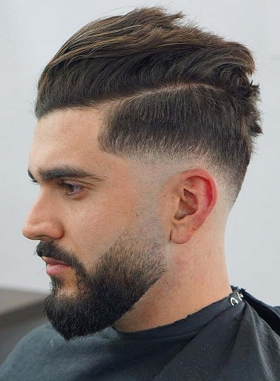 Long Comb over with Drop Fade