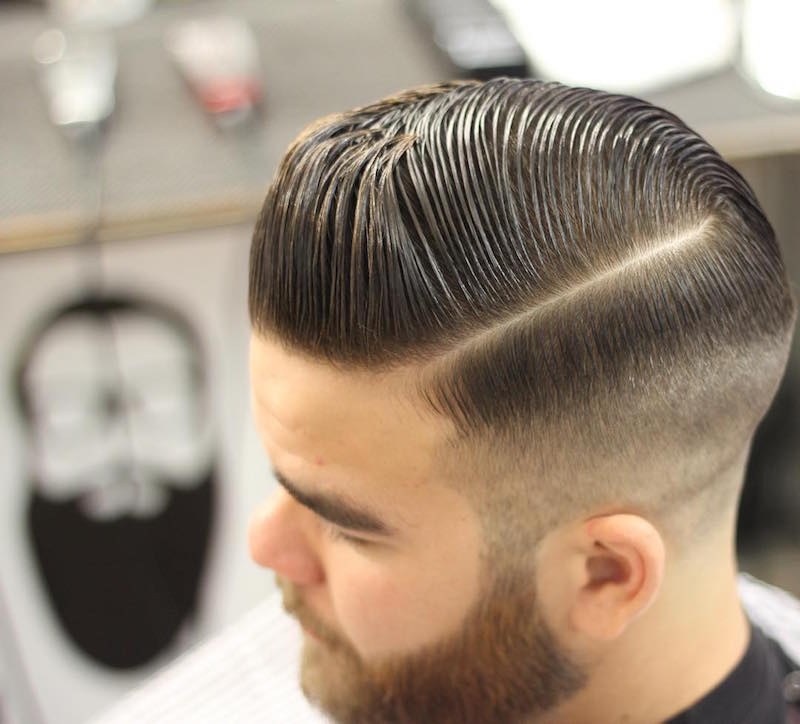 Medium Slicked Pomp High Fade