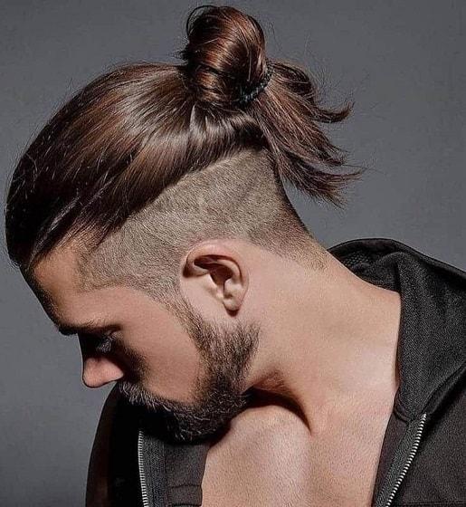 Side Shaved Long Hair Bun for Men