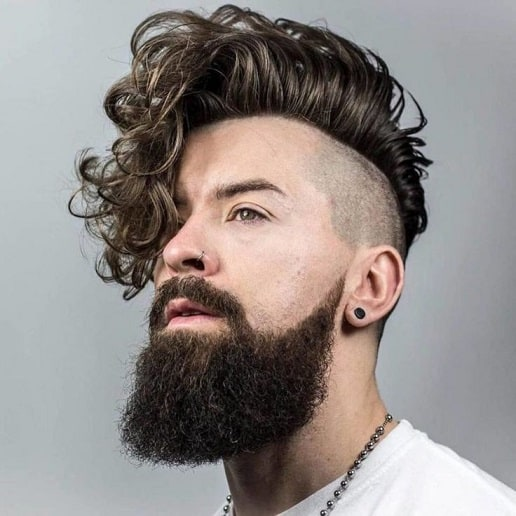 side shaved hairstyles with long beard