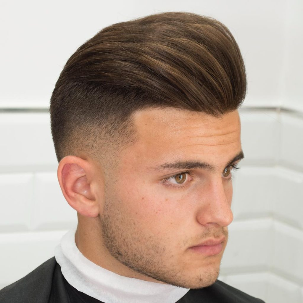 Pompadour Curly Hairstyle Fade Haircut