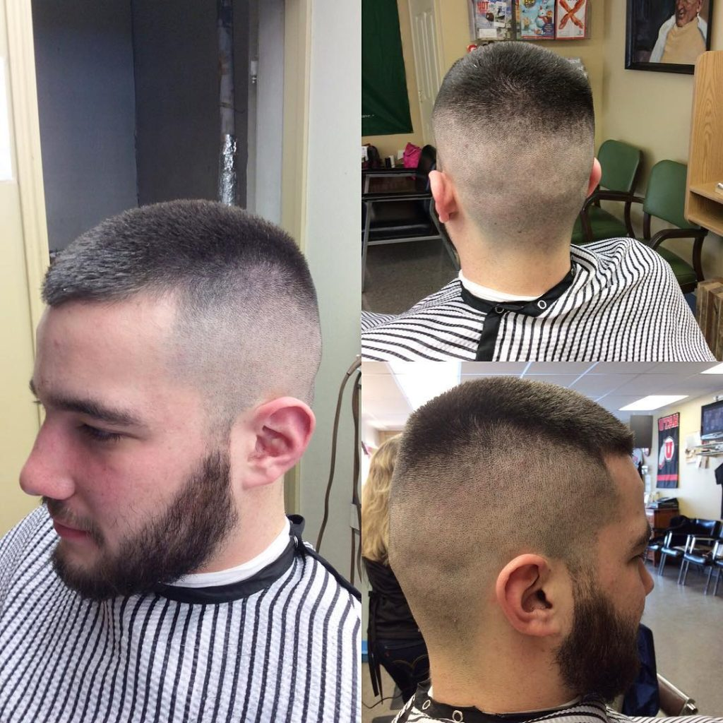 Milatry cut with thick beard