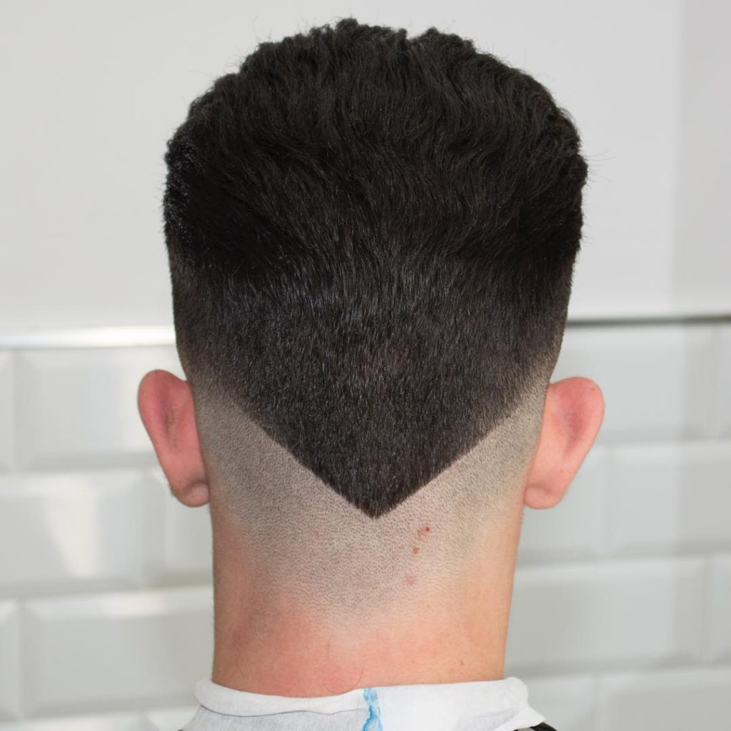 undercut with hair v-shape