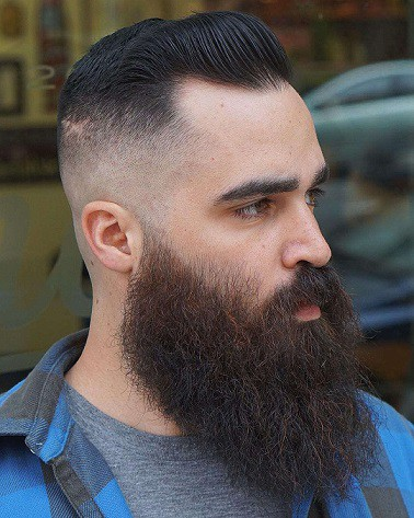Short Fade Hairstyles with long beard