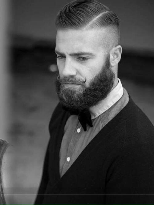 Comb Over Hairstyles - Faded Comb over with Beard