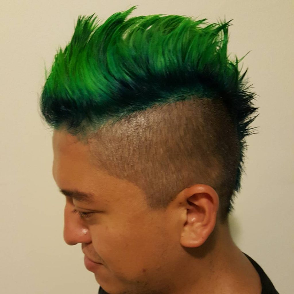 High Fade with top Colored Mohawk Desighn
