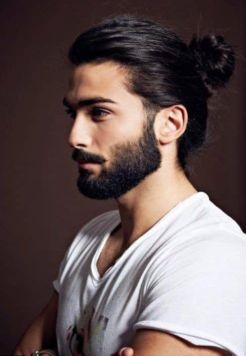 Man-bun with beard