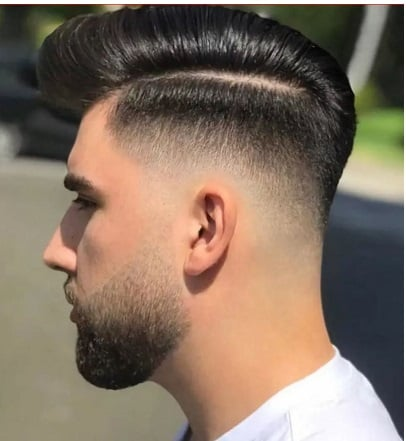Clean Comb over with Mid Fade