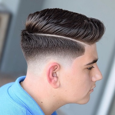 Comb over Hairstyle with Shaved Sides