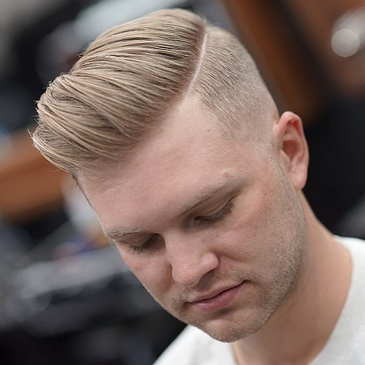 Modern Comb over with Shaved Line