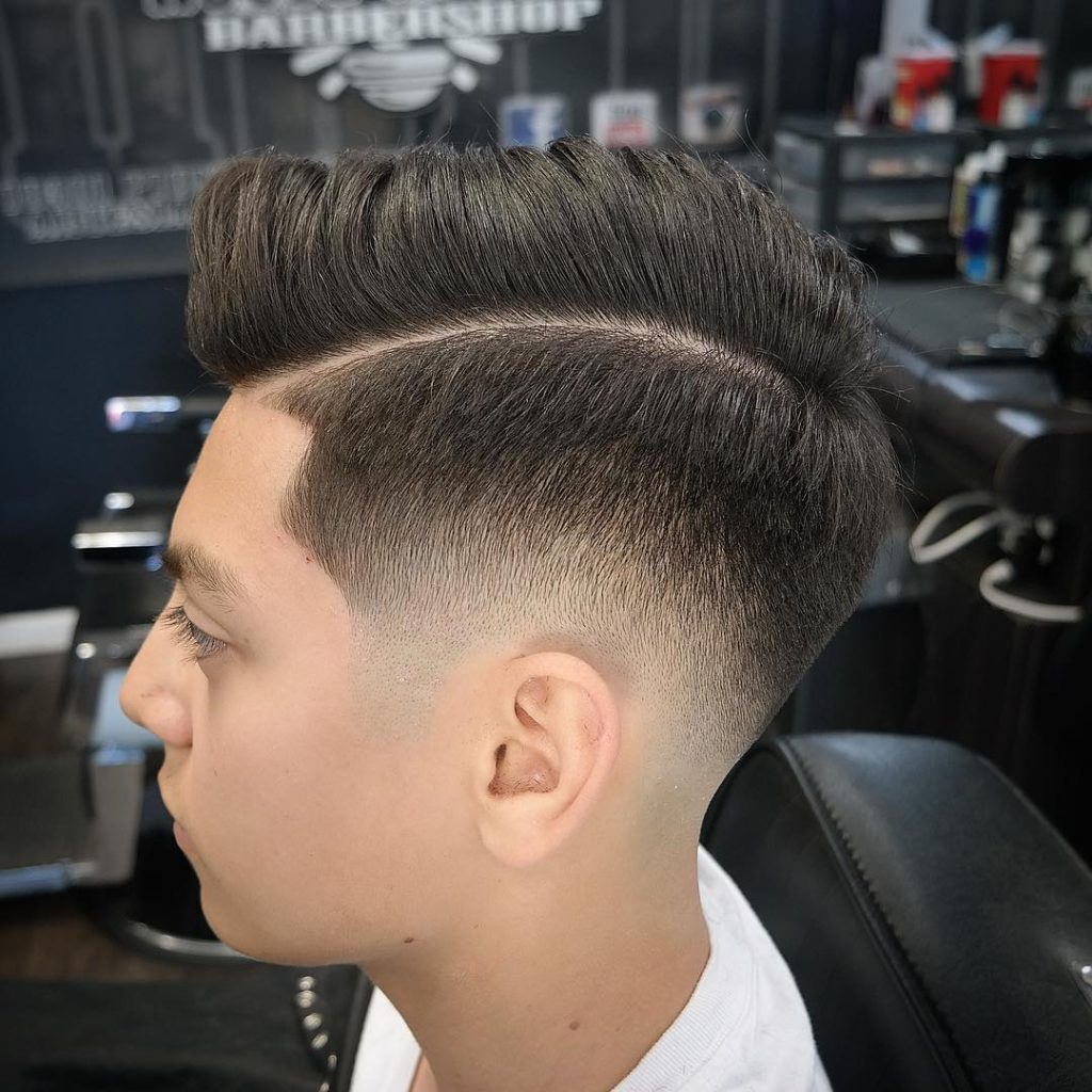Side Part Faded with Curly Top