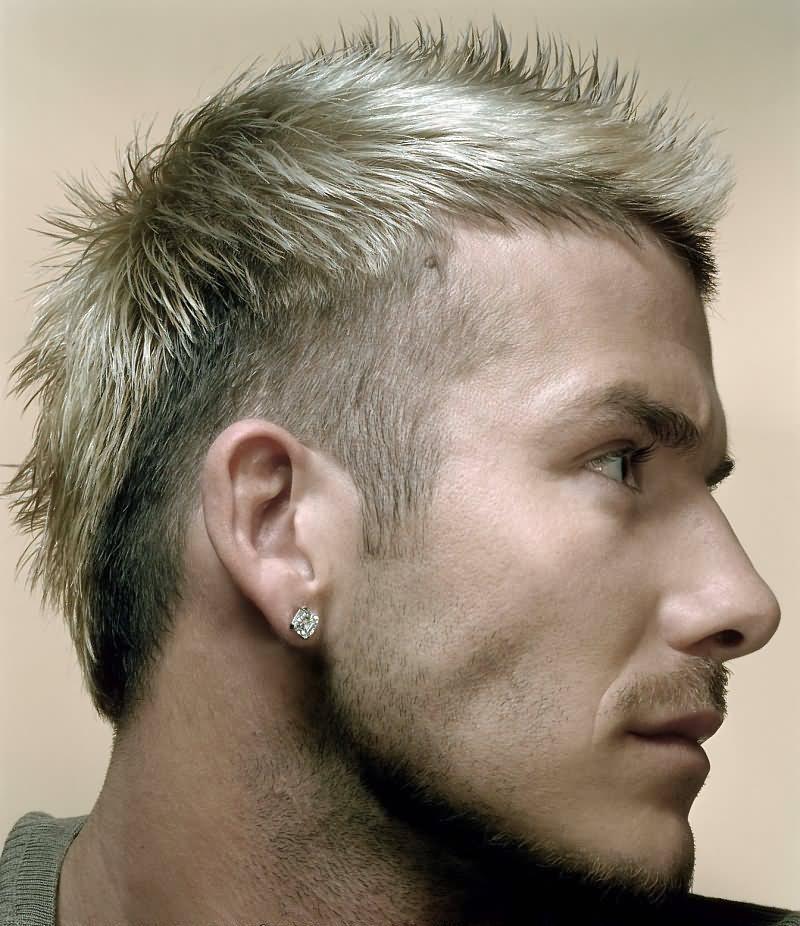 Spiky medium blonde Mohawk with undercuts: