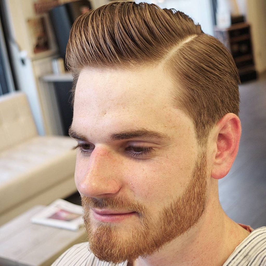 Lo Fade Slick Combover with Surgical Parting