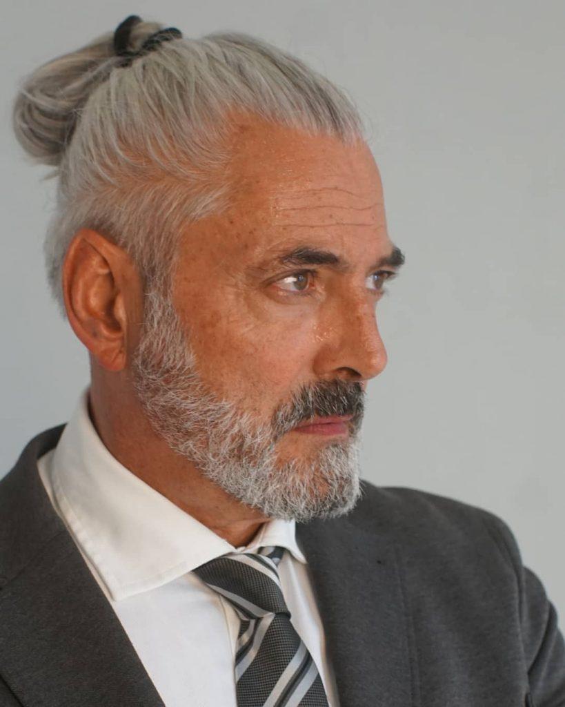 Senior Men Ponytail Hairstyle