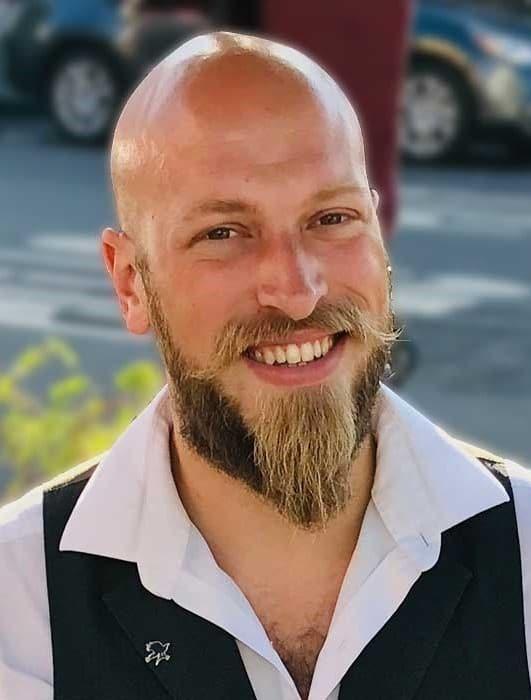 Pointed beard plus a bald head