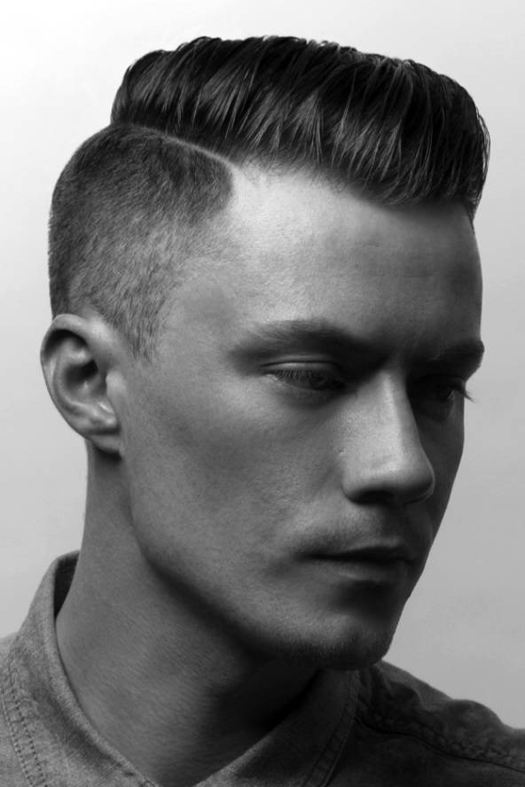 Spiky flat top with a side part