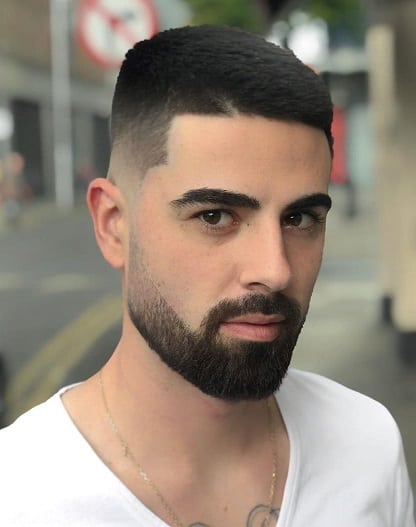 Crew cut with beard and mustache