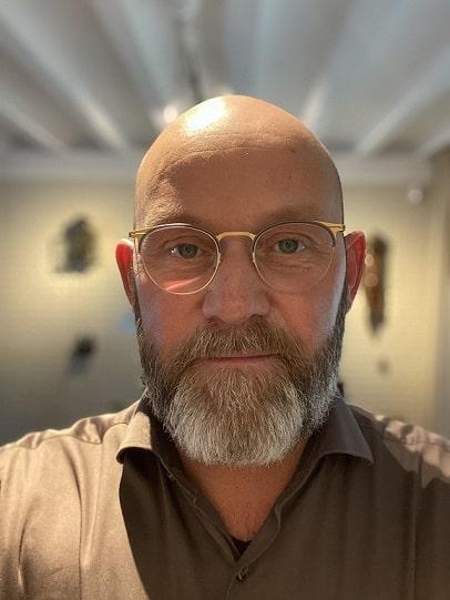 Ginger beard with a bald head