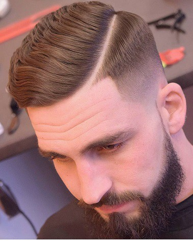 Lo Fade Slick Comb-over with Surgical Parting 01