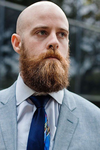 Scruffy beard with a bald head