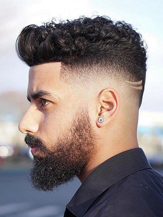 Side Part Fade with Curly Top