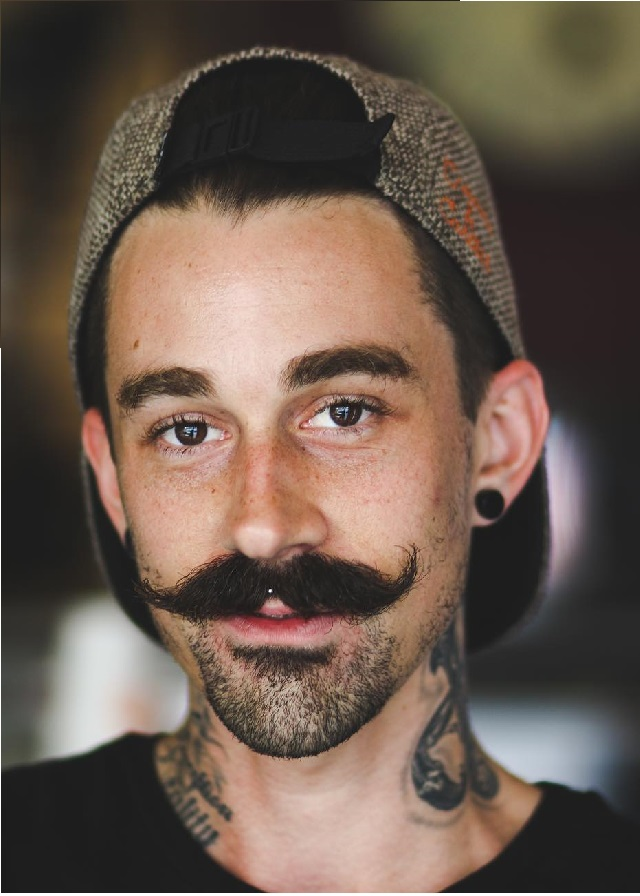 Handlebar Moustache with Beard on the Chin