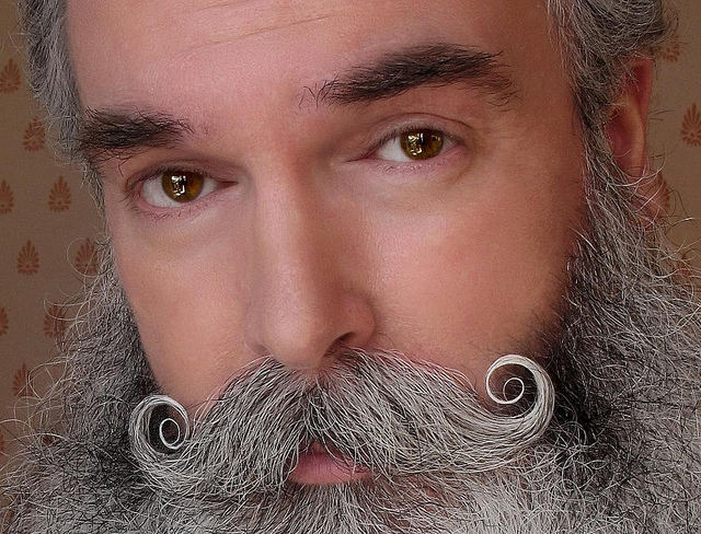 Handlebar mustache with double curls