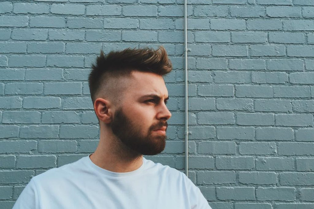 Quiff with spikes and closely clipped sides