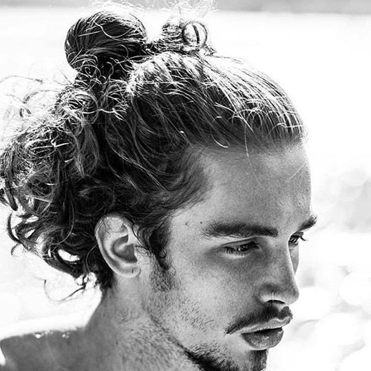 Natural long hair that curls and can be made into springs sets rolled - Man Bun 70 Best Man Bun Hairstyle And Top Knot Cuts