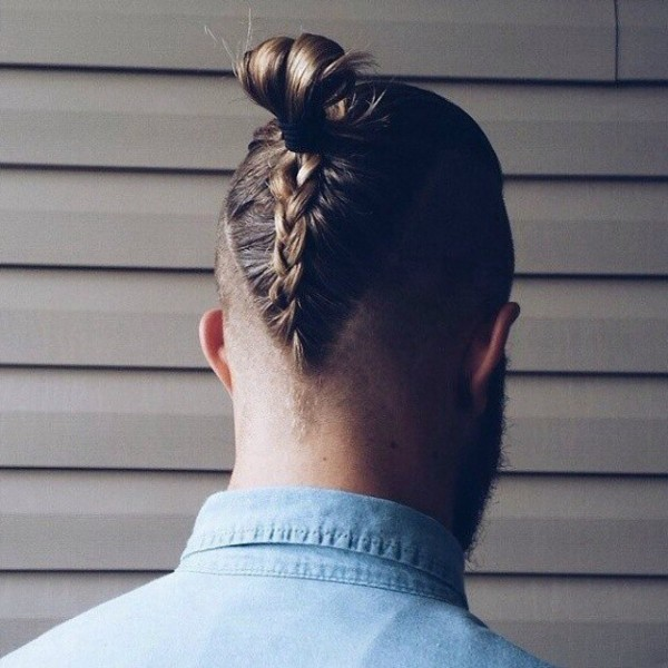 Top knot with braid at the back