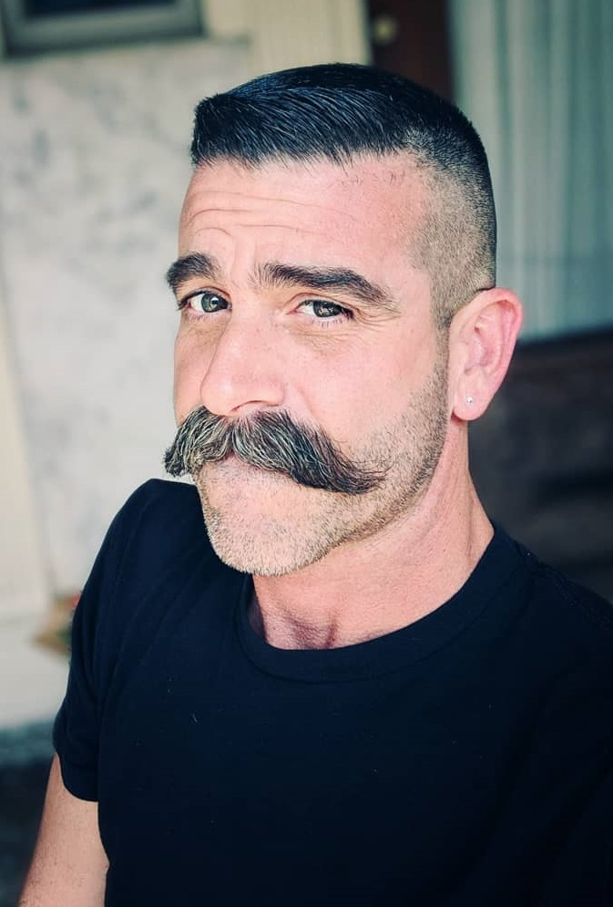 Handlebar Moustache with short hair