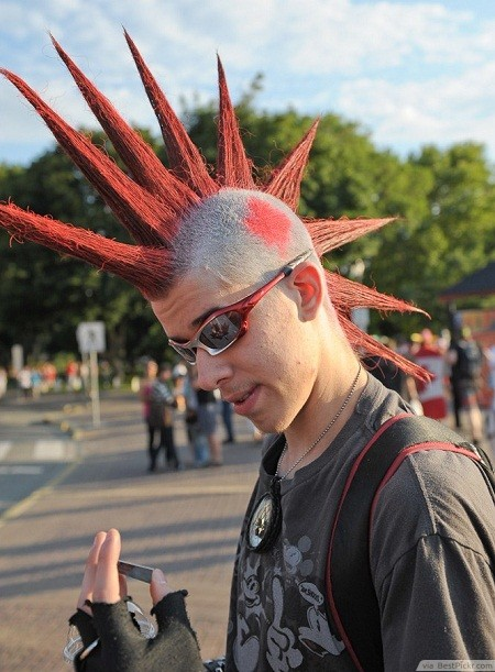 Mohawk Red Spiky Hairstyle