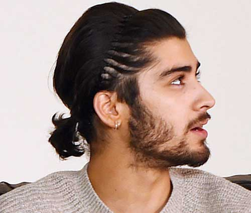 Dark Hairstyle Men Ponytail with Headband