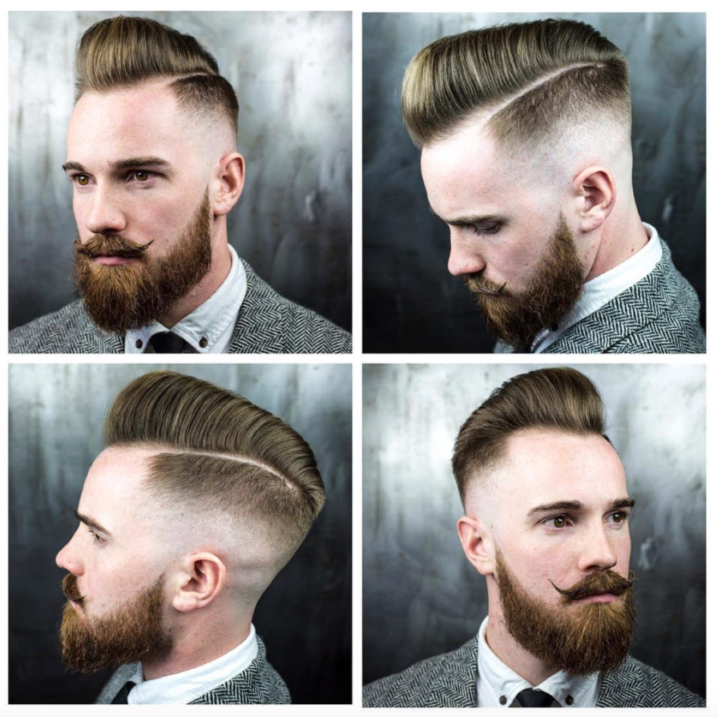 Razor faded pompadour haircut
