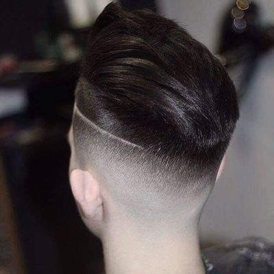High Fade with shaved line